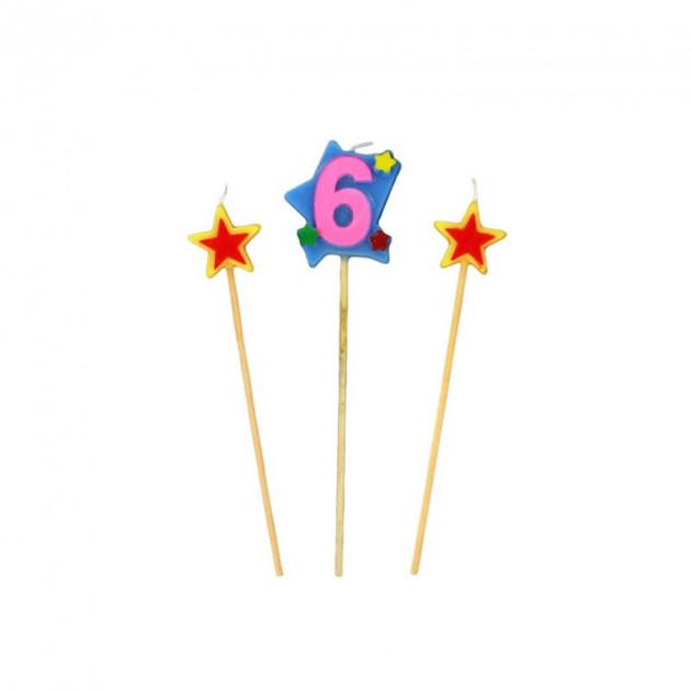 Bougie Chiffre 6 avec 2 bougies etoiles Gatodeco