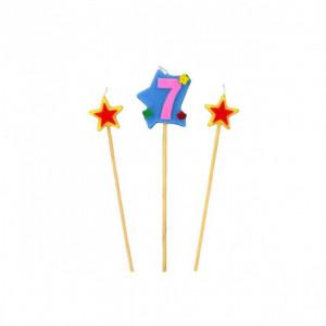 Bougie Chiffre 7 avec 2 bougies étoiles Gatodéco
