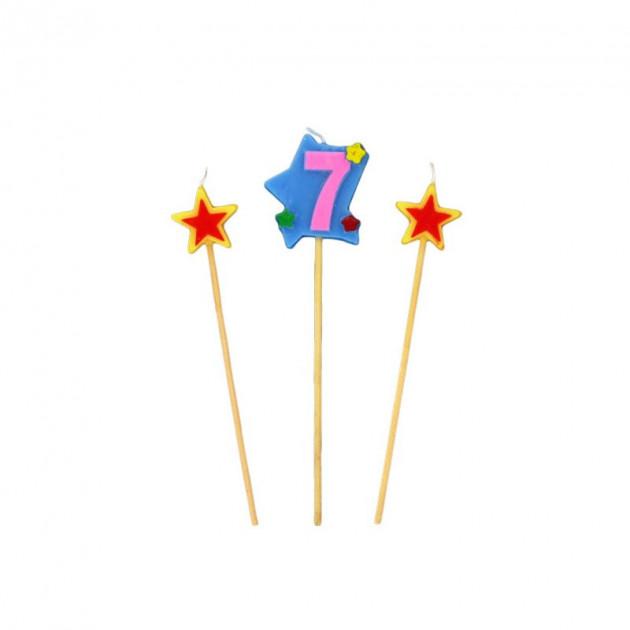Bougie Chiffre 7 avec 2 bougies etoiles Gatodeco