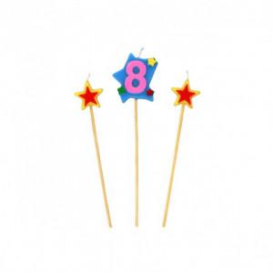 Bougie Chiffre 8 avec 2 bougies étoiles Gatodéco