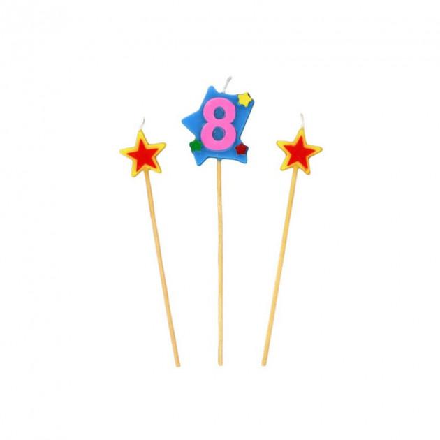 Bougie Chiffre 8 avec 2 bougies etoiles Gatodeco