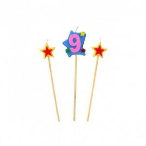 Bougie Chiffre 9 avec 2 bougies étoiles Gatodéco