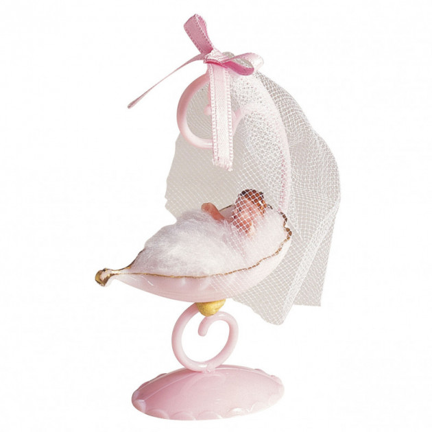 Sujet bapteme Fille Berceau Rose 10 cm