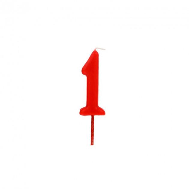 Bougie Chiffre 1 Rouge Gatodeco