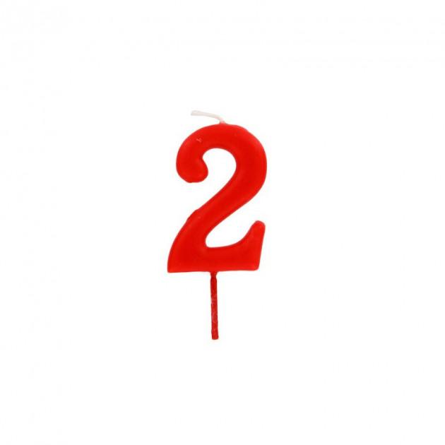 Bougie Chiffre 2 Rouge Gatodeco