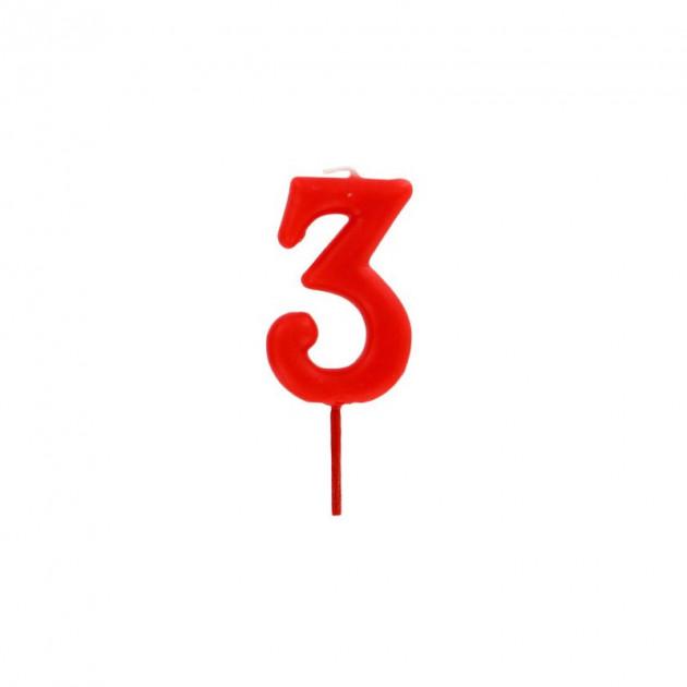Bougie Chiffre 3 Rouge Gatodeco