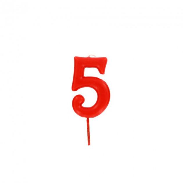 Bougie Chiffre 5 Rouge Gatodeco