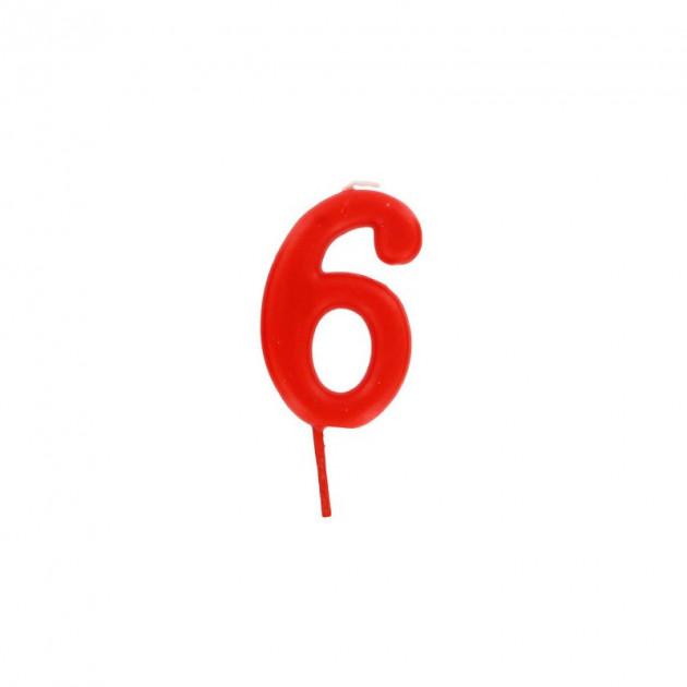 Bougie Chiffre 6 Rouge Gatodeco