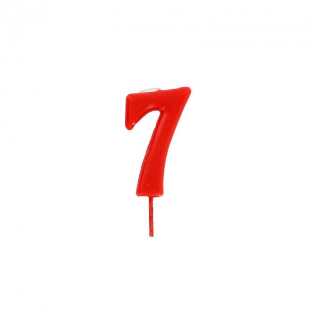 Bougie Chiffre 7 Rouge Gatodeco