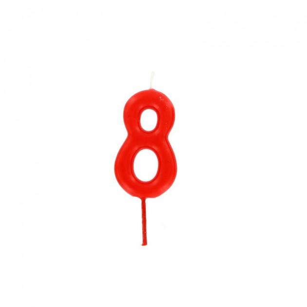 Bougie Chiffre 8 Rouge Gatodeco