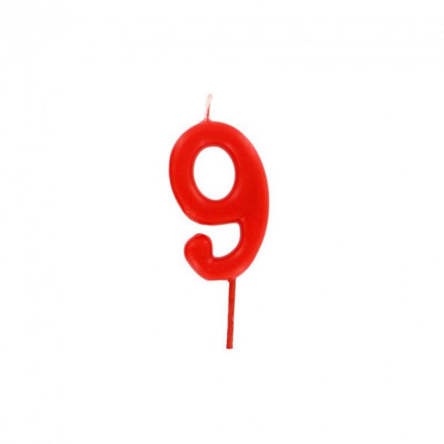 Bougie Chiffre 9 Rouge Gatodeco