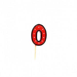 Bougie Chiffre 0 Rouge à Pois blancs Gatodéco