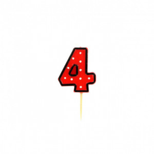 Bougie Chiffre 4 Rouge à Pois blancs Gatodéco