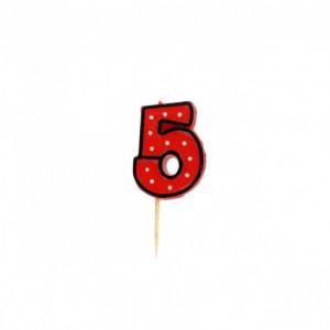 Bougie Chiffre 5 Rouge à Pois blancs Gatodéco