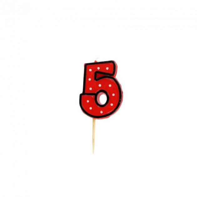 FIN DE SERIE Bougie Chiffre 5 Rouge a Pois blancs Gatodeco
