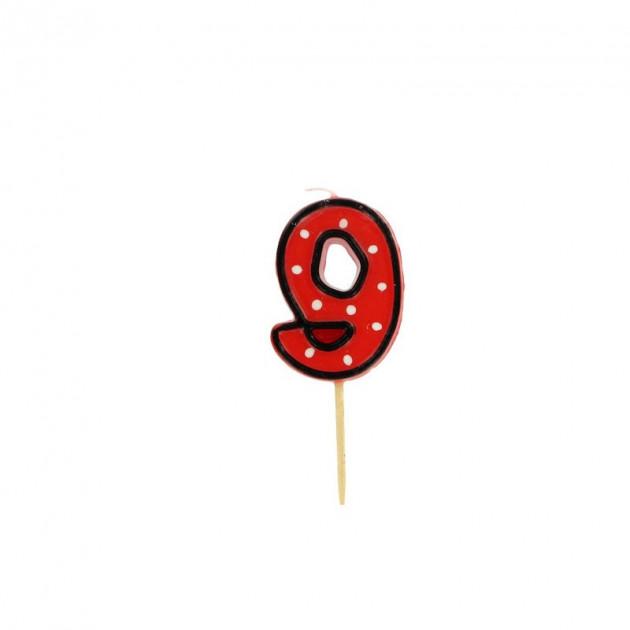 FIN DE SERIE Bougie Chiffre 9 Rouge a Pois blancs Gatodeco