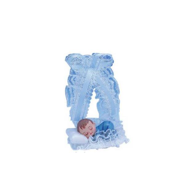 Sujet bapteme Garçon Lit Bleu 14 cm