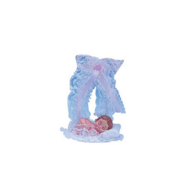 Sujet bapteme Fille Lit Rose 14 cm
