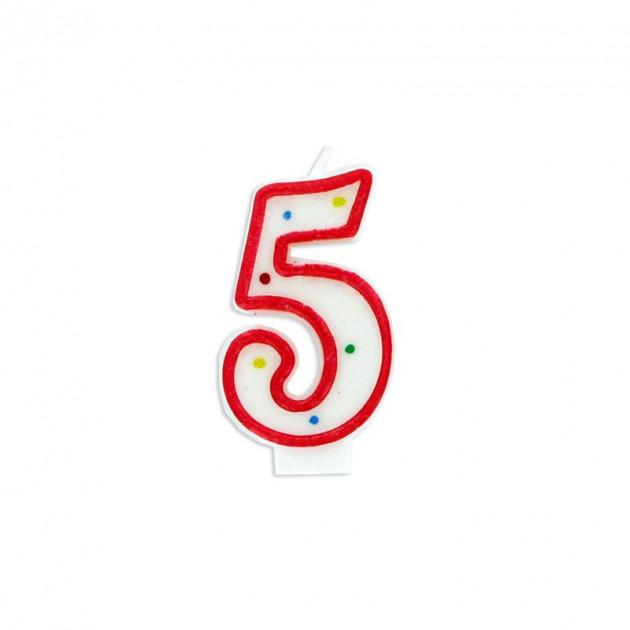 Bougie Chiffre 5 Blanche a Pois colores Gatodeco