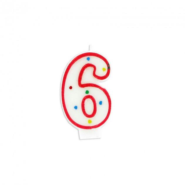 Bougie Chiffre 6 Blanche a Pois colores Gatodeco