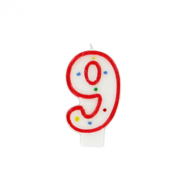 Bougie Chiffre 9 Blanche a Pois colores Gatodeco