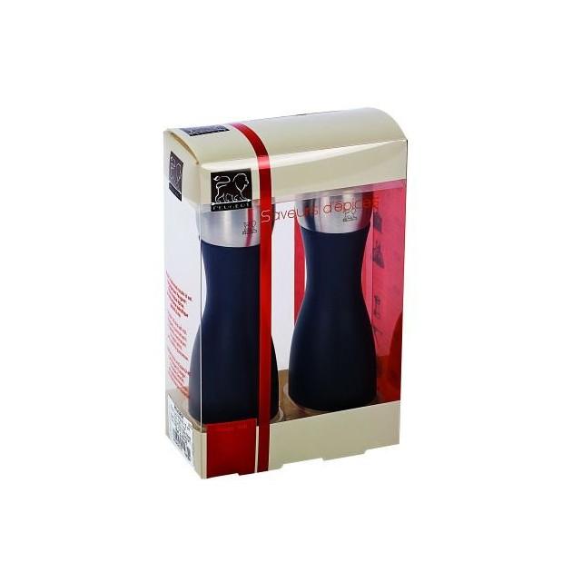 Packaging du Duo Moulin a Poivre et a Sel Fidji 12 cm Noir-Inox Peugeot