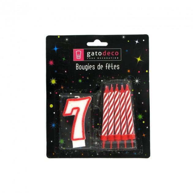 FIN DE SERIE Lot de 10 Bougies et 1 Bougie Chiffre 7 Gatodéco