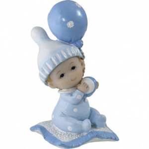 Sujet bapteme Garçon Bébé Rêveur Bleu 7,5 cm