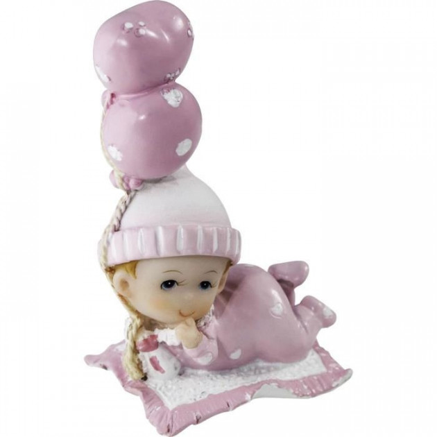 Sujet bapteme Fille Bebe Reveur Rose 7.5 cm