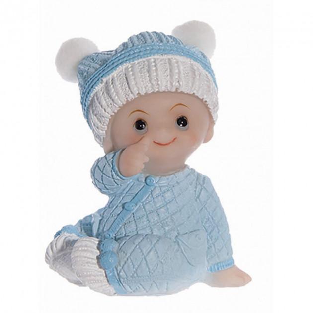 Sujet bapteme Garçon Pyjama Bleu 7.5 cm