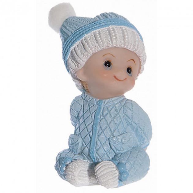 Sujet bapteme Garçon Pyjama Bleu 7.5 cm Modele 2