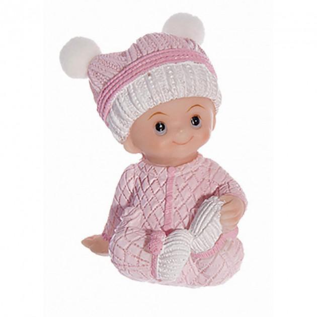 Sujet bapteme Fille Pyjama Rose 7.5 cm