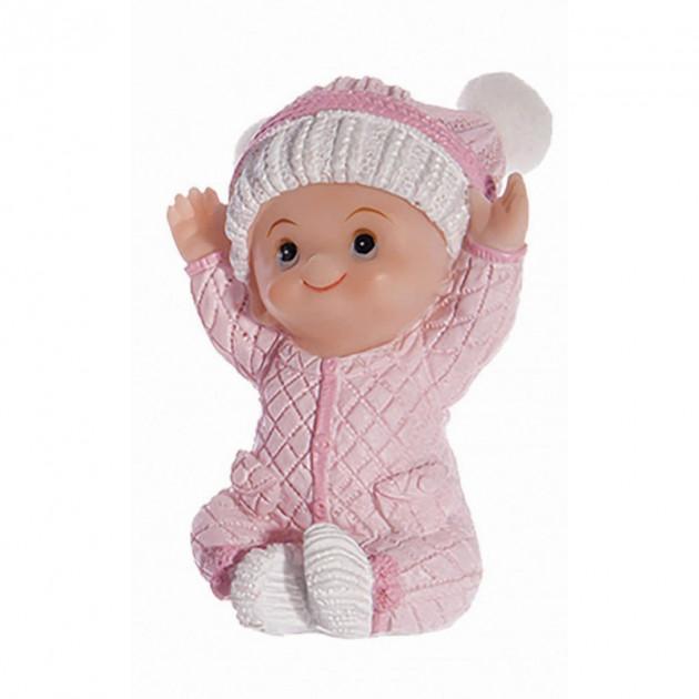 Sujet bapteme Fille Pyjama Rose 7.5 cm Modele 2