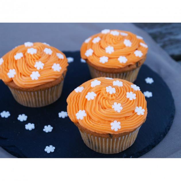 Cupcakes realises avec du colorant en poudre alimentaire orange