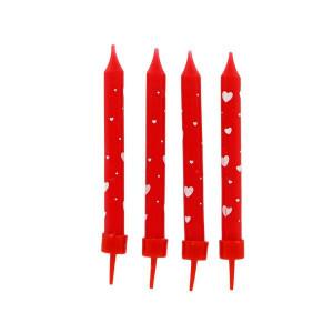 Bougies Rouges à Coeurs Blancs (x8) Gatodéco