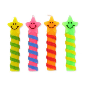 Bougies Smileys Etoiles (x4) Gatodéco