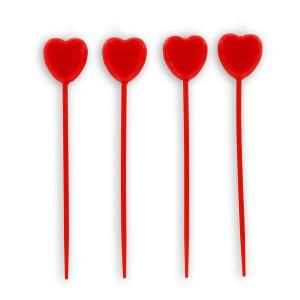 Bougies Coeurs Rouges sur Piques (x4) Gatodéco