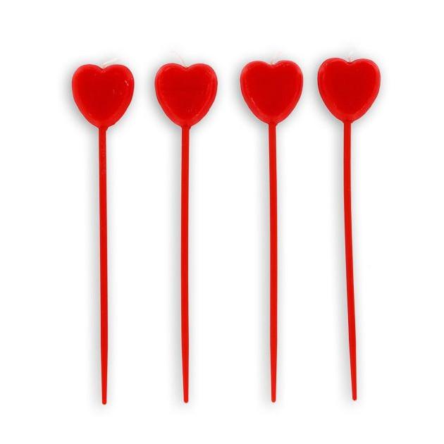 Bougies Coeurs Rouges sur Piques (x4) Gatodeco