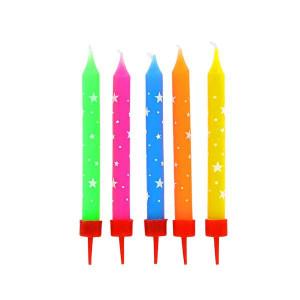 Bougies Multicolores à Etoiles Blanches (x10) Gatodéco