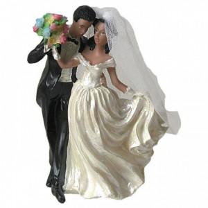Figurine Mariage Mariés Métisse 12 cm