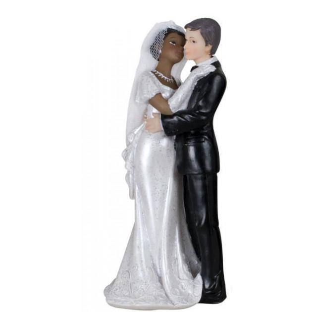 Figurine Mariage Mixte Femme Metisse et Homme Blanc 18 cm