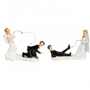 Figurine Mariage A la Pêche 2 Modèles 14 cm