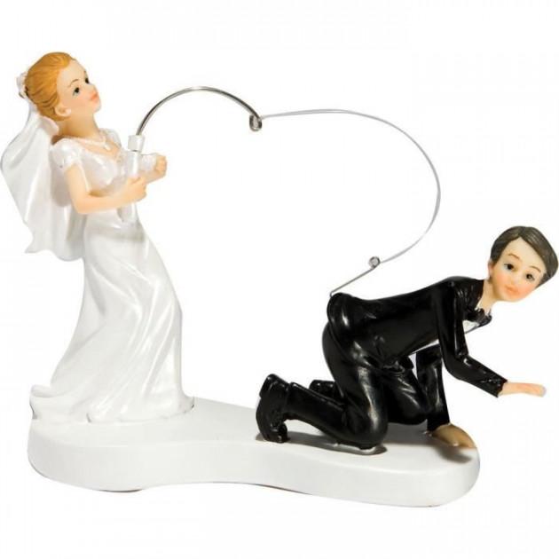 Figurine Mariage Humoristique Mariee va a la peche de son epoux 14 cm