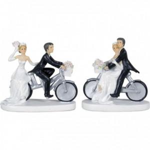 Figurine Mariage Couple à Vélo 13 cm (x2)
