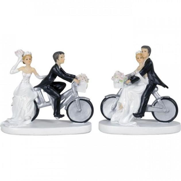 Figurine Mariage Couple a Velo 13 cm (x2)