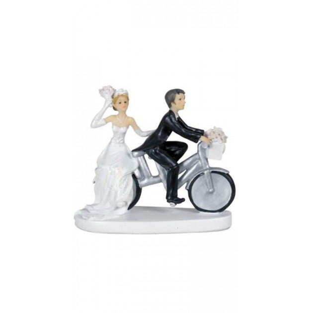 Figurine Mariage Couple a velo Femme sur le porte bagage 13 cm