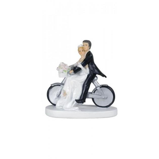 Figurine Mariage Couple a velo Femme a l'avant et panier de fleurs 13 cm