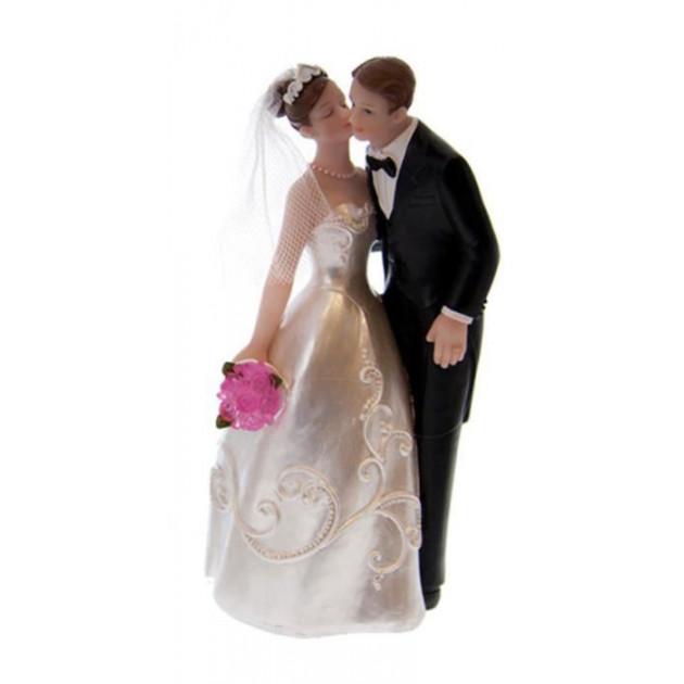 Figurine Mariage Mariee embrassant son epoux 16.5 cm