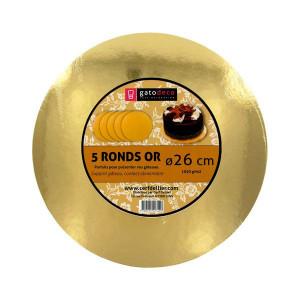 Ronds Dorés Ø 25,5 cm (x5) Gatodéco