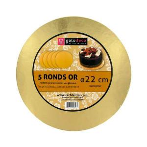 Ronds Dorés Ø 21,7 cm (x5) Gatodéco